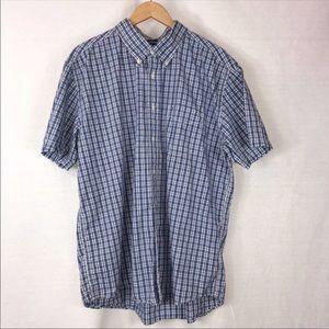 TOMMY HILFIGER Blue Plaid Button-Down Shirt • XL